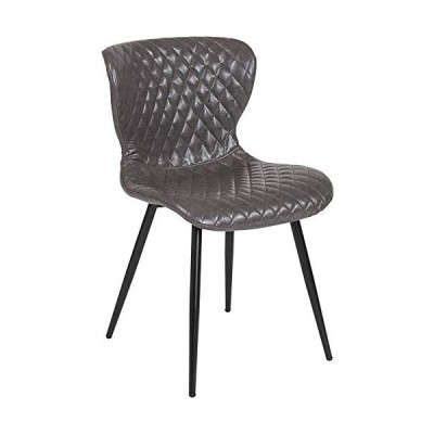 Emma + Oliver Contemporary Upholstered Chair in Gray Vinyl並行輸入品