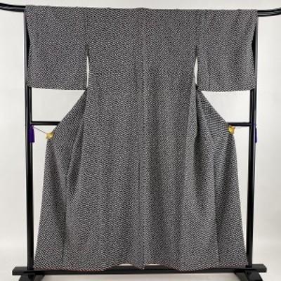 小紋 秀品 巾着 黒 袷 身丈153.5cm 裄丈67.5cm M 正絹 中古