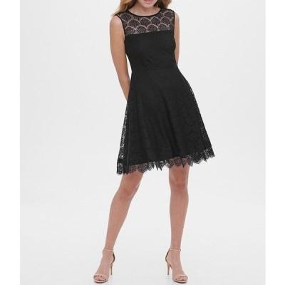 ケンジー レディース ワンピース トップス Illusion Lace Yoke Neck Lace Scallop Hem Dress