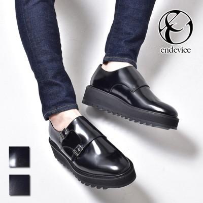 SVEC ダブルモンクシューズ シャークソール メンズ 革靴 厚底 エンデヴァイス endevice ELT770-1 ブラック 26.0cm メンズ