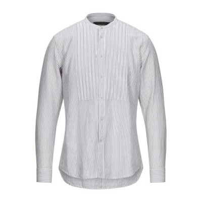 MESSAGERIE ストライプ柄シャツ  メンズファッション  トップス  シャツ、カジュアルシャツ  長袖 ベージュ