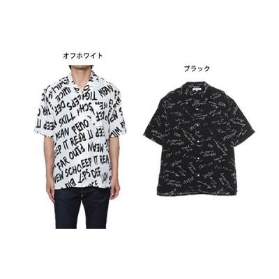 総柄ロゴプリント半袖オープンカラーシャツ