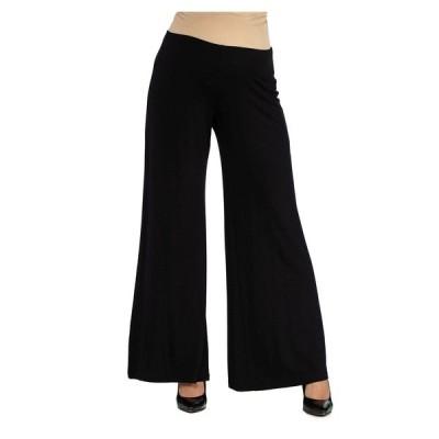 24セブンコンフォート カジュアルパンツ ボトムス レディース Women's Comfortable Solid Color Maternity Palazzo Pants Black