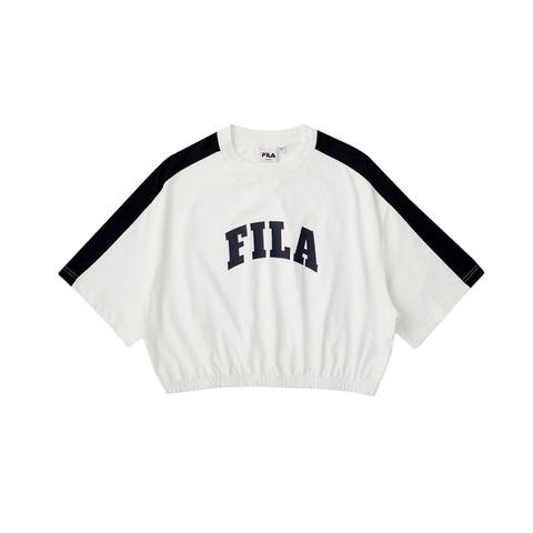 FILA 美式復古短版上衣-米白色 5TEV-1213-WT