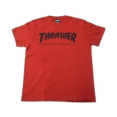 THRASHER スラッシャー MAG LOGO スケートボードマガジン マグロゴ Tシャツ 赤x黒 レッド