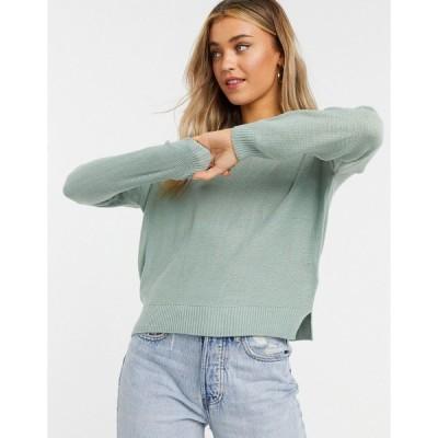 ブレーブソウル レディース ニット&セーター アウター Brave Soul Grunge boxy crew neck sweater Dusty mint