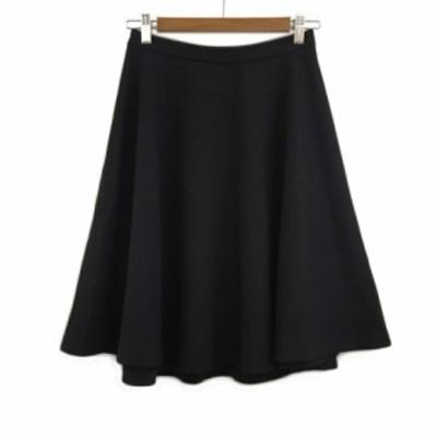 【中古】ネイビー Navy スカート フレア ひざ丈 M 黒 ブラック レディース