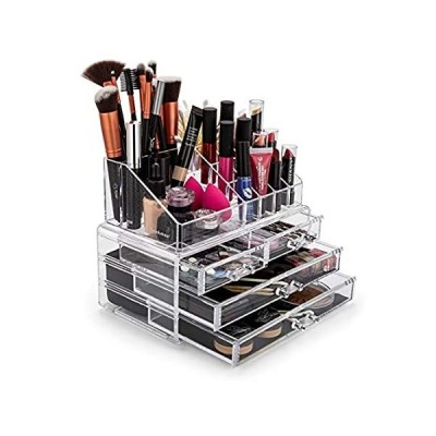 BROOKSTONE - Makeup Organizer for Vanity, Cosmetic Display Case with Drawer