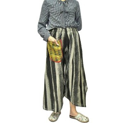 タイパンツ ガウチョパンツ レディース グレー系縦縞ワイドパンツ おしゃれな サルエル アジアン バリ タイ 雑貨 インテリア