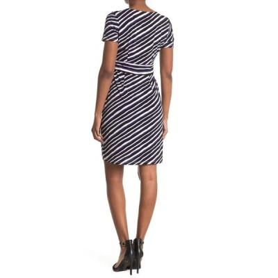 ロンドンタイムス レディース ワンピース トップス Techno Stripe Print Jersey Sheath Dress BLACK/BLUE
