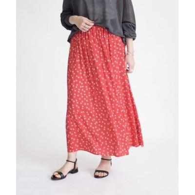 スカート プリントギャザースカート