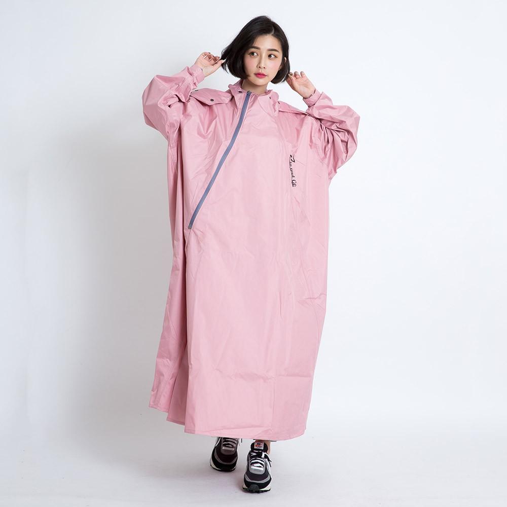 BrightDay Double雙拉鍊斜開連身雨衣 粉 專利雙拉鍊 斜開拉鍊 一件式雨衣 連身式雨衣《比帽王》