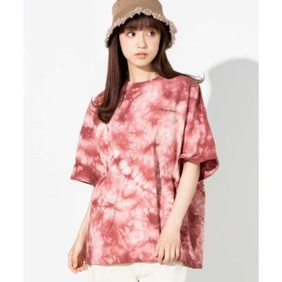 WEGO WEGO/ルーズタイダイロゴTシャツ(レッド)【返品不可商品】