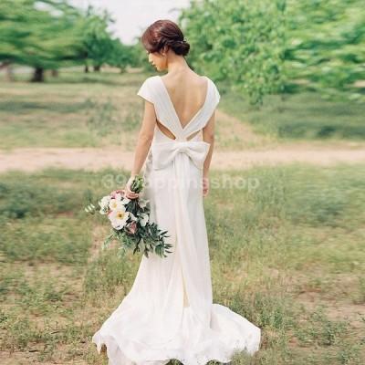 ウェディングドレス 白 結婚式 ロングドレス Aライン 海外挙式 花嫁 二次会 大きいサイズ パーティードレス 披露宴 ブライダル シンプル 演奏会