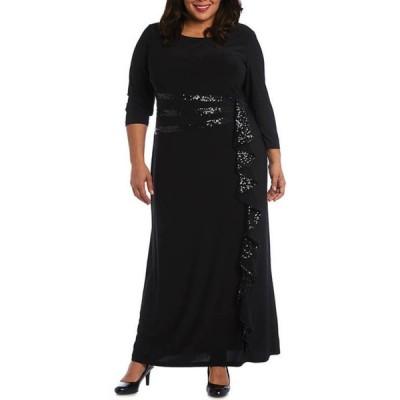 アールアンドエムリチャーズ レディース ワンピース トップス Plus Size Embellished Sequins Trim Cascade Long Dress