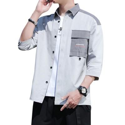 シャツ ボタンダウン メンズ 七分袖 綿 大きいサイズ ストレッチ ゆったり 開襟 薄手 通気性 快適 柔らかい 軽量 おしゃれ かっこいい