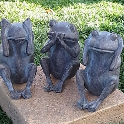 アンティーク調雑貨 置物 オブジェ アンティーク調 モールドアニマル 見ざる 言わざる 聞かざる かえる 雑貨 オブジェ カエル 蛙