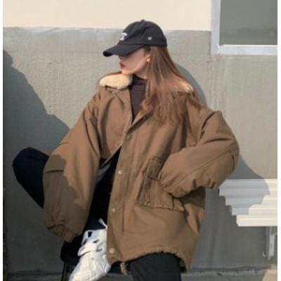 韓国 ファッション レディース ボア ジャケット ジャンパー アウター ビッグシルエット ゆったり もこもこ カジュアル 防寒 秋冬