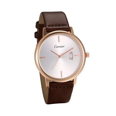 JEWELRYWE 腕時計 メンズ 本革ベルト 人気 防水 アナログ カレンダー 日本製クオーツ ビジネス カジュアル ファッション メンズ アクセサ