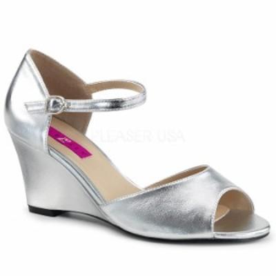 取寄 Pleaser プリーザー ベルト付き アンクルストラップ ウェッジ サンダル 7.5cmヒール 銀 シルバー フェイクレザー 大きいサイズ 靴