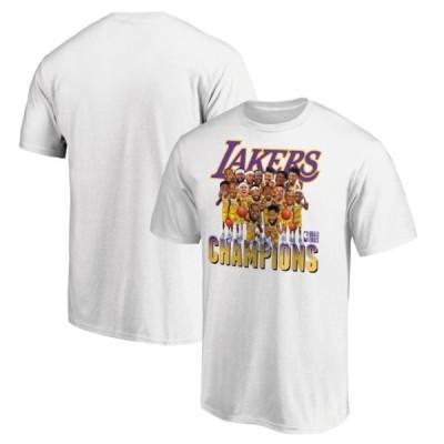 NBA公式ライセンス商品 NBAファイナル2020年チャンピオン ロサンゼルス レイカーズ Lakers 半袖Tシャツ ホワイト 白 チーム カリカチュア アメリカ直輸入 メンズ
