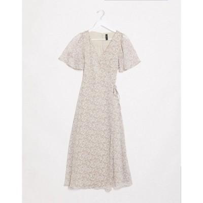 ワイエーエス レディース ワンピース トップス Y.A.S midi wrap dress in cream ditsy floral