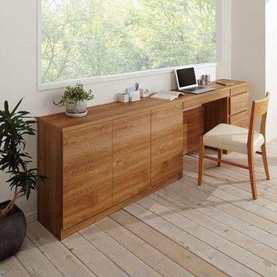 天然木調薄型コンパクトオフィスシリーズ 3枚扉キャビネット・幅120cm ブラウン