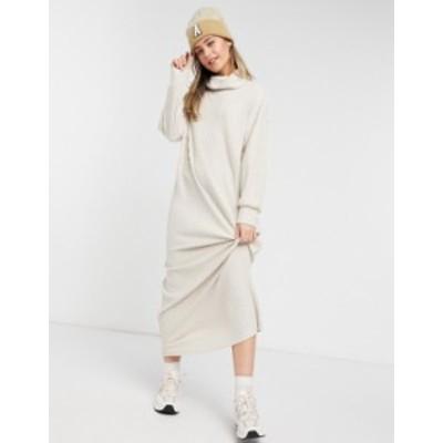 エイソス レディース ワンピース トップス ASOS DESIGN maxi long sleeve ribbed dress with roll neck in cream Cream