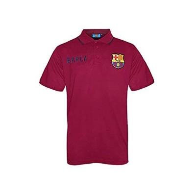 FCバルセロナ公式サッカーSoccerギフトメンズCrest Poloシャツネイビーブルー US サイズ: Large カラー: レッド