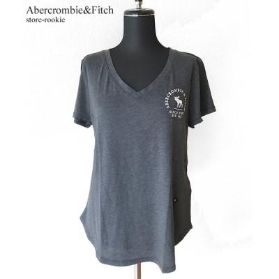アバクロンビー&フィッチ ロゴTシャツ Abercrombie&Fitch レディース Vネック サークルロゴ刺繍 カットソー 半袖/グレー