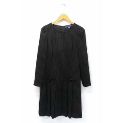 【中古】エムズグレイシー M'S GRACY リボン装飾 ピンストライプ 長袖 ロング ワンピース 38