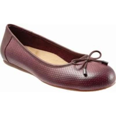 SoftWalk レディースシューズ SoftWalk Napa Embossed Ballet Flat Burgundy Leath