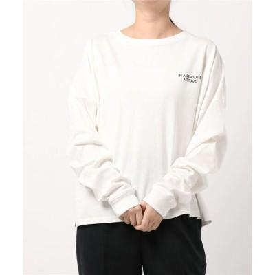 tシャツ Tシャツ ロゴ刺繍ボリュームスリーブロンT