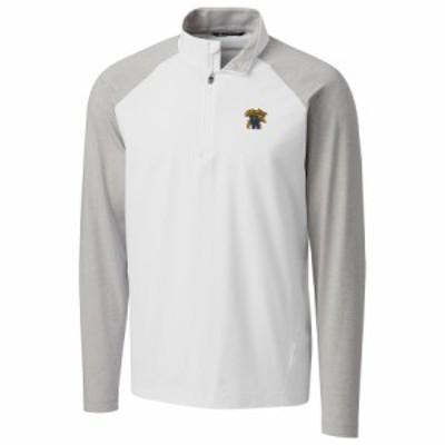 """メンズ ジャケット """"Kentucky Wildcats"""" Cutter - Buck Response Hybrid Overknit Quarter-Zip Pullover Jacket - White"""