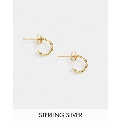 エイソス レディース ピアス・イヤリング アクセサリー ASOS DESIGN sterling silver with gold plate mini hoop earrings in twist design