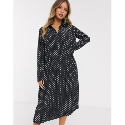 エイソス レディース ワンピース トップス ASOS DESIGN pleated midi shirt dress in mono polka dot