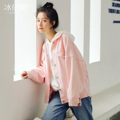 (良い品質)春と秋の韓国版のキャンディ色のデニムのオーバーの女性のゆったりしているchic短い上着bf原宿の風のジャケットの学生の港の風