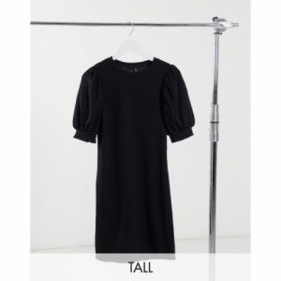 ヴェロモーダ Vero Moda Tall レディース ワンピース ミニ丈 ワンピース・ドレス Mini Sweat Dress With Puff Sleeve In Black ブラック