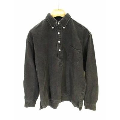 【中古】レインスプーナー reyn spooner ボタンダウン シャツ 長袖 胸ポケット 黒 ブラック M QW メンズ
