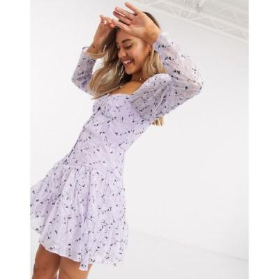 エイソス ミニドレス レディース ASOS DESIGN cupped button through mini dress with all over embroidery in lilac エイソス ASOS