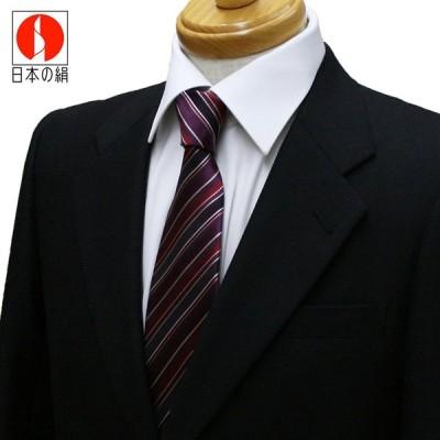 ネクタイ ビジネス ストライプ 赤紫 シルク 西陣織 ネコポス