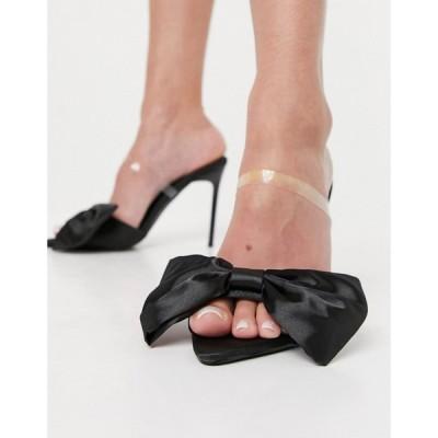 シミ SIMMI Shoes レディース サンダル・ミュール シューズ・靴 Simmi London Ezlili Heeled Sandals With Oversized Bow In Black Satin ブラックサテン