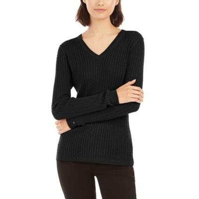 トミー ヒルフィガー ニット&セーター アウター レディース Ivy Cable V-Neck Sweater Black