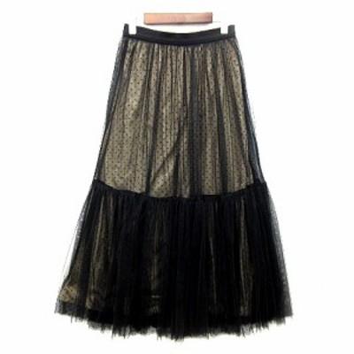 【中古】リリーブラウン Lily Brown チュール ロング スカート ドット ゴムウエスト LWFS205031 2020AW ブラック 黒 ONE 美品 レディース