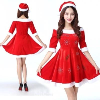 サンタコスプレ2点セット帽子ワンピースサンタコスクリスマスサンタコスプレミニ丈秋冬wear.com