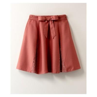 スカート ひざ丈 大きいサイズ レディース レース切替 共布リボン ベルト付 INCEDE 4L ニッセン nissen