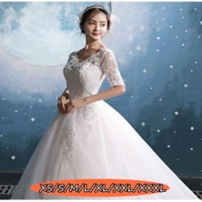 結婚式ワンピース お嫁さん 豪華な ウェディングドレス 花嫁 ドレス マキシドレス 姫系ドレス 白ドレス