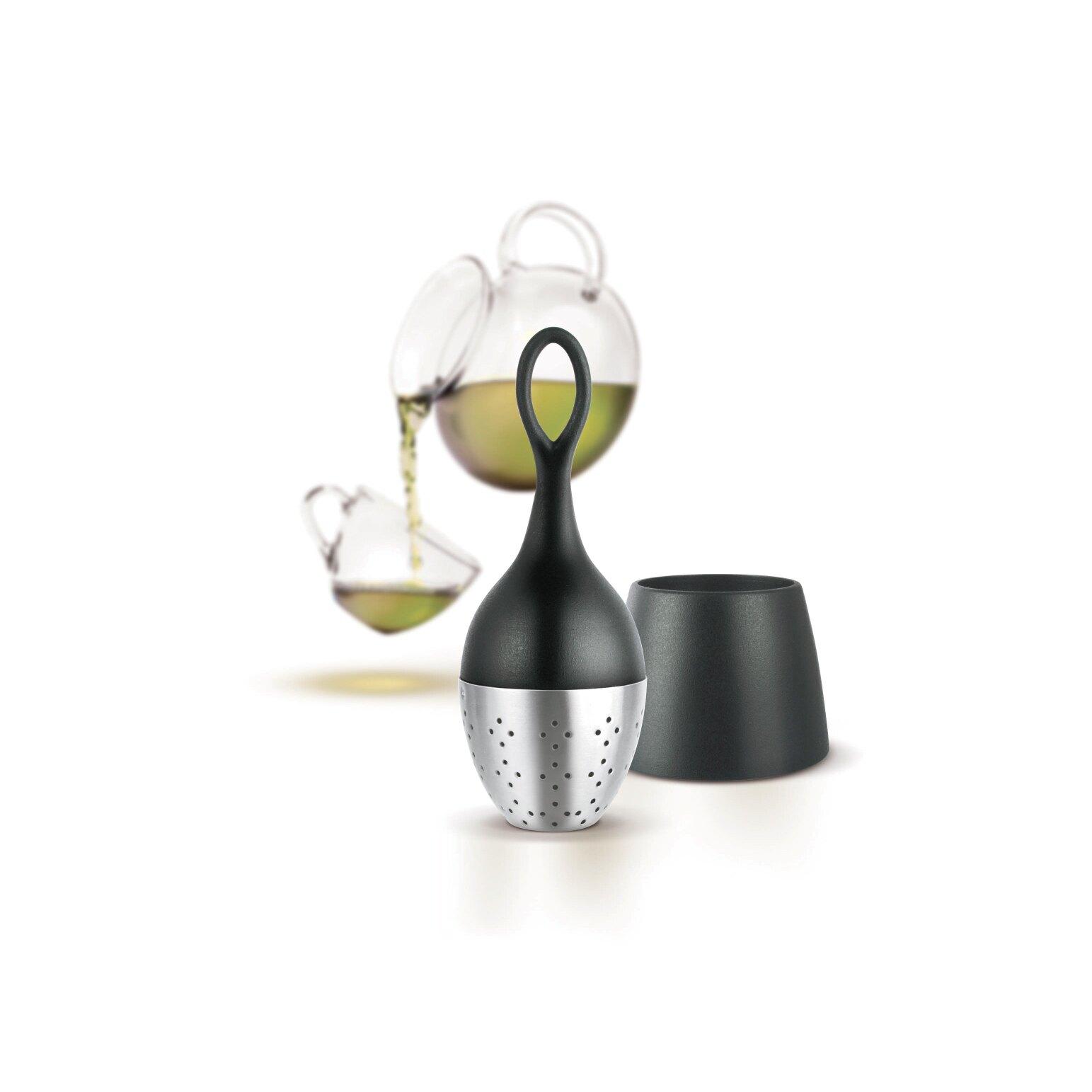 AdHoc 漂浮濾茶器(經典黑)-特殊設計保持漂浮於水面上,方便拿取,底座可銜接茶漬,美國星巴克茶飲店指定款濾茶器,德國精品設計