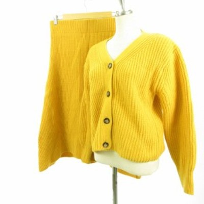 【中古】ミラオーウェン セットアップ ニット カーディガン 長袖 ロングスカート フレア からし色 黄 0 レディース