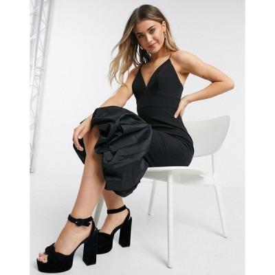 エバニュー レディース ワンピース トップス Ever New plunge midi dress with structured satin peplum hem in black Black